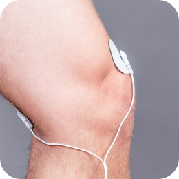 Pain free PAT Electrodes on knee treating pain